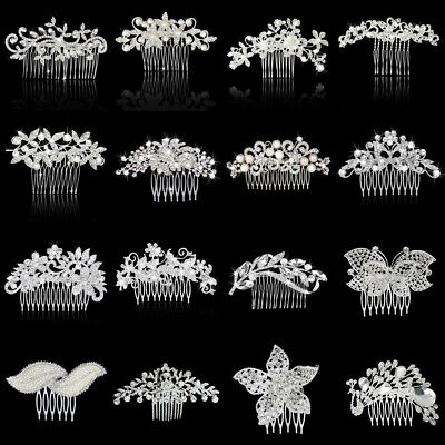 Bridal Wedding Party Flower Leaf Crystal Rhinestone Hair Comb Slide Clip Jewelry