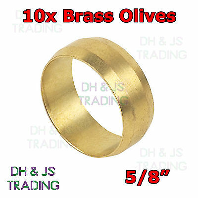 10x Brass Compression Olives 5/8 - Plumbing Barrel Olive Pipe Fitting Imperial