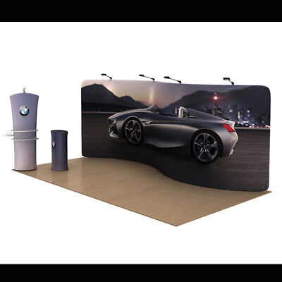 20ft S sharp Tension Fabric Trade Show Display Pop up with shelve stand & lights