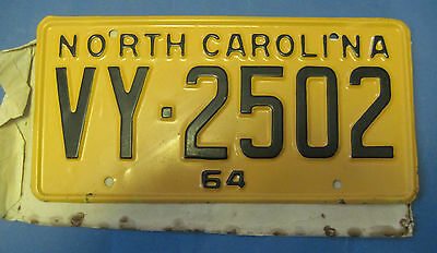1964 North Carolina License Plate new never used with original wrapper