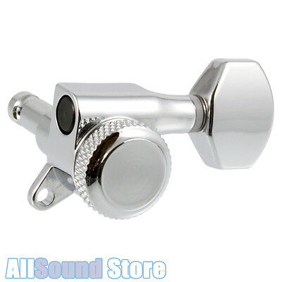NEW 6 In-Line Mini LOCKING Guitar Tuners - CHROME 18:1 for Fender® Strat & Tele
