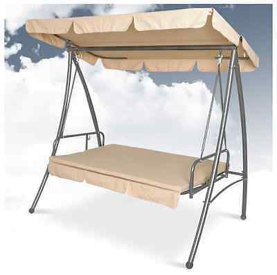 Garden Swing Bed With Sun Canopy 3 Seat Outdoor Patio Porch Furniture - Beige