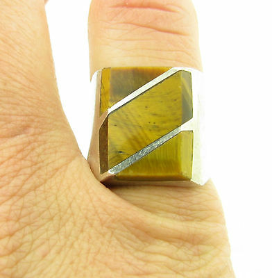 Heavy Vintage Sterling Silver Mexico Taxco Tigers Eye Inlay Ring Size 8