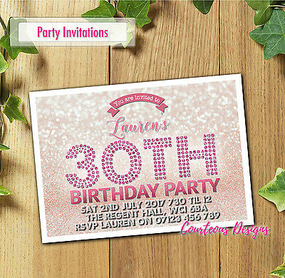 Personalised Birthday Party Invitations 18th 30th 40th 50th 60th ANY AGE E111
