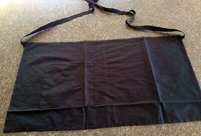 Half Waist With Front Pocket Waiter Aprons Black