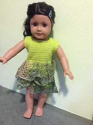 Green Knitted Dress With Ruffle Skirt Fits 18 Dolls( American Girl Doll