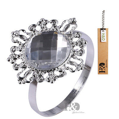 12 Diamond Crystal Metal Napkin Rings Holders Dinner Wedding Banquet Party Decor
