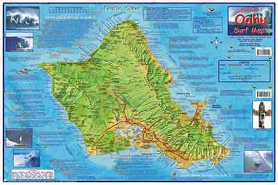 Oahu Hawaii Surfing Map Laminated Poster by Franko Maps