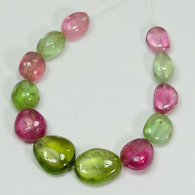 Afghani Green Blue Pink Tourmaline Nugget  Beads (12)