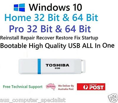 Windows 10 Home & Pro, 32 / 64 Bit, Boot, Repair USB 2.0 Re-Install Recover AIO