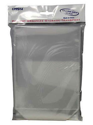 50 50x Clear DVD Plastic Sleeves High Quality Fit Movie Covers w/ Flap