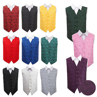 DQT Woven Floral Paisley Tuxedo Communion Page Boys Wedding Waistcoat 2-14 Years