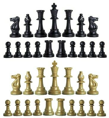 Staunton Triple Weighted Chess Pieces–Full Set 34 Black & Khaki Gold -4 Queens