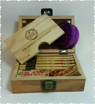 RAW Wooden Deluxe Rolling Storage Box Gift Set Classic Smoking Papers Grinder