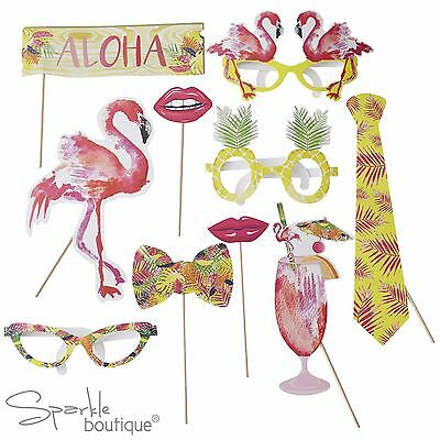 Tropical FLAMINGO PHOTO BOOTH PROPS - BBQ/Summer Party/Hawaiian/Luau/Selfie