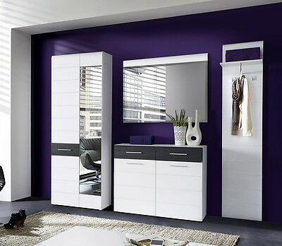 garderobenset ocean garderobe flurm bel wei hochglanz. Black Bedroom Furniture Sets. Home Design Ideas