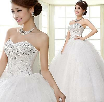 Popular Strapless Beaded Lace Up Wedding Dresses Bridal Ball Gowns New 2016