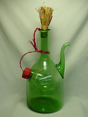Old Vtg Green Glass Wine Decanter Handmade Italy Italian Bottle Pitcher Stopper