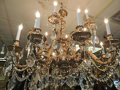 Magnificent Large Cast Brass Crystal Chandelier 18 light urn style post
