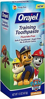 4 Pk Orajel Toddler Training Toothpaste Paw Patrol Tooty Fruity Flavor 1.50oz Ea