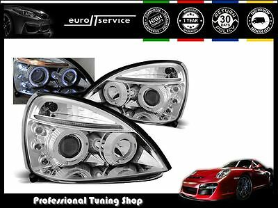 Neuf 2 Feux Avant Phares Lamps Lpre13 Renault Clio Ii 2001-2005 Angel Eyes Chrom