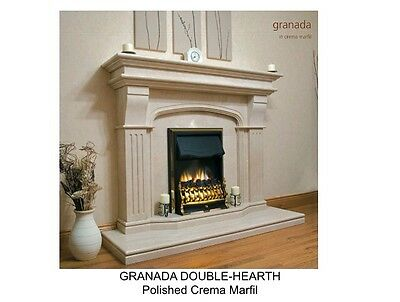 "Marble Mantel - Polished - Granada Doublehearth 67"" Wide Crema Marfil"