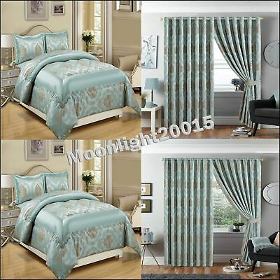 3 Piece Jacquard Bedspread Bedding Set with Ring Top Curtains Nutmeg Duck Egg