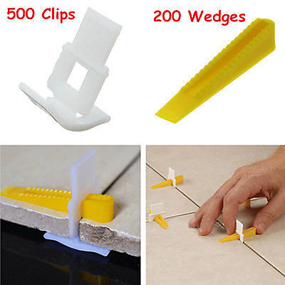 700 Tile Leveling System - 500 Clips + 200 Wedges - Tile Leveler Spacers Lippage