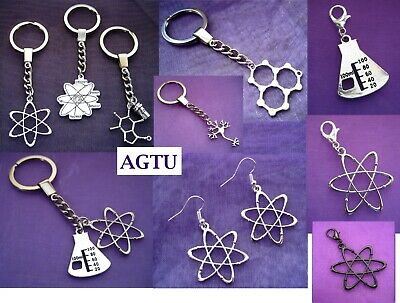 U PICK Atom Molecule Water Chemistry Coffee Keyring Earrings Charm Geek Student