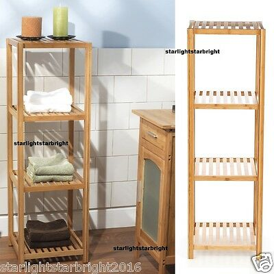 Display Rack Unit 4 Tier Bamboo Storage Shelves Bathroom Organiser Towel Laundry