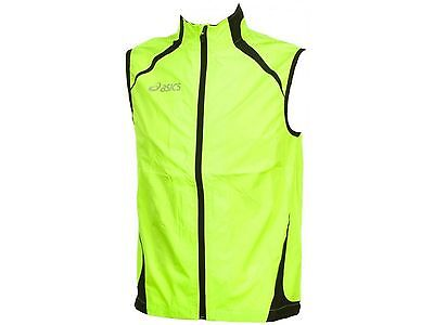 Asics Stef Mens Running Cycling Fitness Gilet Waterproof Breathable Yellow