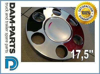 """2x 17.5"""" 17,5'' DAF MAN IVECO MERC TRUCK BUS WHEEL TRIM STAINLESS STEEL FRONT"""
