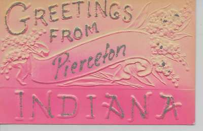Pierceton Indiana Greetings From embossed glittered antique pc Z18207