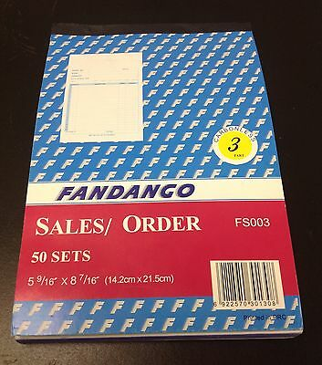 """Sales Order Book / Receipt Book ~ 50 Triplicate Forms ~ Carbonless,  5.5""""x8.5"""""""