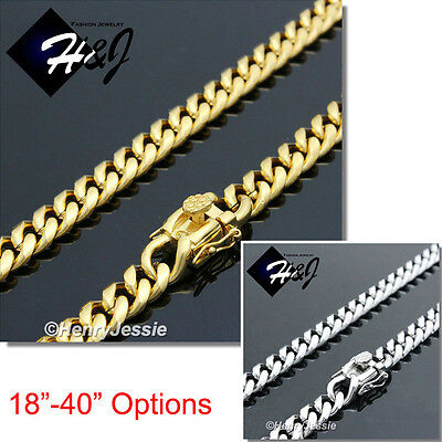 """18-40""""MEN Stainless Steel 7x3mm Gold/Silver Miami Cuban Curb Link Chain Necklace"""