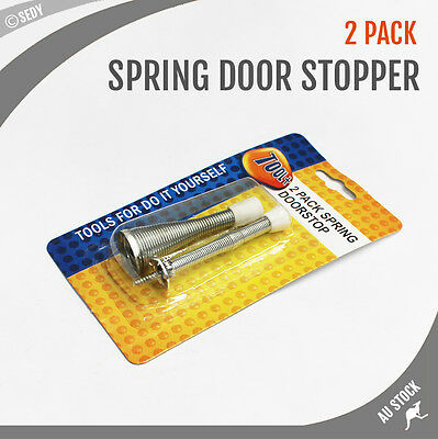 2 Pieces Spring Door Stops Door Stopper Holder Steel with Rubber Head & Screws