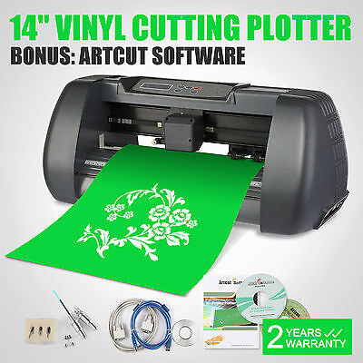 "New 14"" Vinyl Cutter / Sign Cutting Plotter Pro W/ Artcut Software Cut"