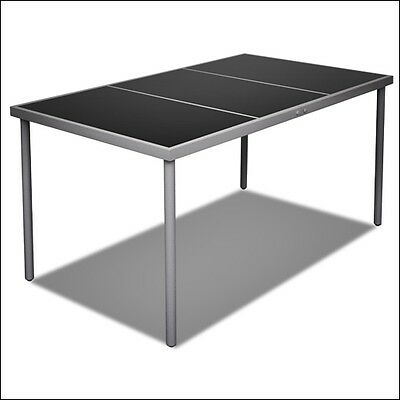 Patio Dining Table Metal Garden Furniture Snack Table Yard Large Black Glass Top