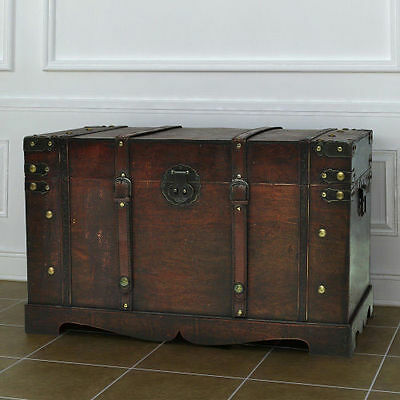Large Wooden Treasure Chest Vintage Trunk Box Antique Rustic Decor Furniture New