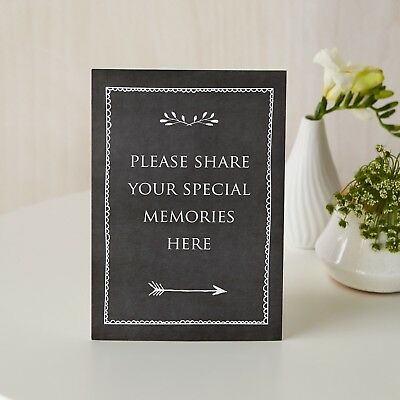 'Share Your Memories Here' Black Card Sign & Stand - For Funeral Condolence Book