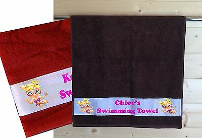 Girls Personalised Swimming Towel Any Name Printed - Different Colours Available