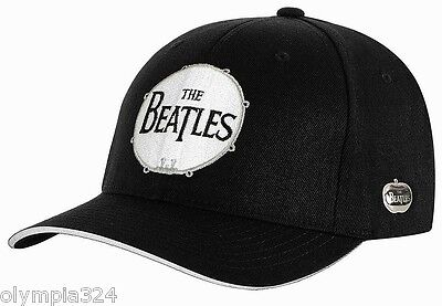 """BEATLES, THE HAT/CAP """"Drum"""" Black & White Embroidered Authentic Licensed NEW"""