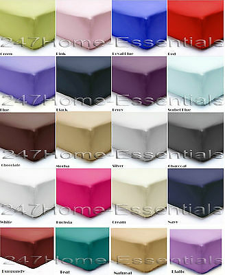 """Extra Deep Fitted Sheets 16"""" 40cm Box Percale Single Double King Super King"""