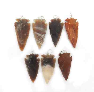 5 pcs Natural Jasper Arrow head with Silver Tone Bail (RK42B6)