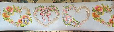 Heart Shaped Grapevine Wreaths With Flowers Wallpaper Border
