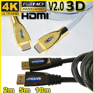 4K HDMI Cable Premium Ultra HD Gold Plated 2160p 1080p 3D High Speed Ethernet