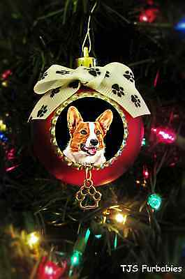 Corgi Painted Christmas Ball Ornament Pet Lovers Gift by TJS Furbabies