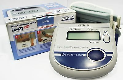 CITIZEN CH- 432 Digital Arm Blood Pressure Monitor (BP) Large LCD+Features New