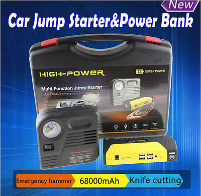 68800mAh Vehicle 12V Car Jump Starter Booster Battery Power Bank Charger w/Pump