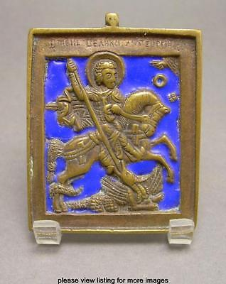 Antique Early 19th c Russian Enamel & Bronze Icon St. George Slaying the Dragon
